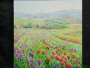 Dahlia Fields Print on Board