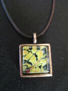 Yellow Butterfly, sm square pendant